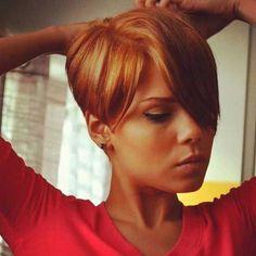 Goldish Long Pixie Haircuts with Long Bangs