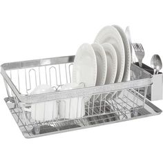 Kitchen Details Dish Rack with Cup and Tray, Chrome Pave Diamond Design, Silver