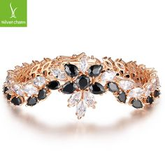 Zircon Bracelet for Women Two Layer Flower Shape Bracelet & Bangle 18K Gold Plated Jewelry XCLB010 ALX-SCJS ALX-SCJS