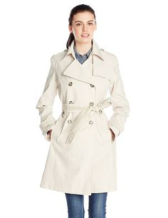 Via Spiga Women's Double Breasted Trench Coat with Belt, Muslin, Large. Double-breasted trench coat with notched collar, self-belt, and side-entry front pockets. White Trench Coat, Trench Coat Outfit, Trench Coat Style, Double Breasted Trench Coat, Belted Coat, Coats For Women, Jackets For Women, Women's Jackets, Sport Coat