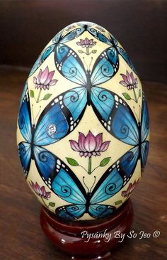 Blue Morpho BUtterflies Ukrainian Easter Egg Pysanky By So JeoBlue Morpho BUtter. Blue Morpho BUtterflies Ukrainian Easter Egg Pysanky By So JeoBlue Morpho BUtterflies Ukrainian Easter Egg Pysanky B Morpho Butterfly, Blue Morpho, China Painting, Tole Painting, Types Of Eggs, Incredible Eggs, Batik Art, Ukrainian Easter Eggs, Egg Designs