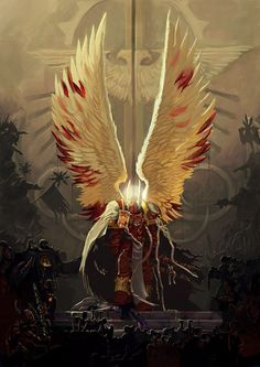 Sanguinius, Primarch of the Blood Angels at the gate if the Imperial Palace. The Angel versus the Traitors.
