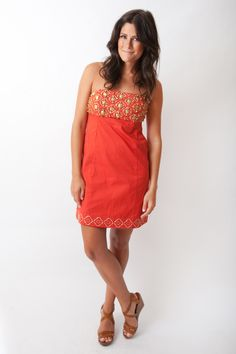 Sheridan French Arabella Dress in Deep Coral