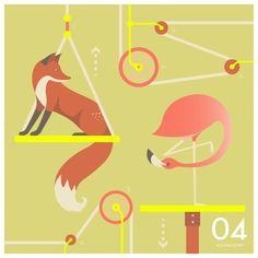 """""""Life is like a seesaw - you need someone who can lift you up no matter how low you are"""" #QuinnsQuips #Illustration #Fox #Flamingo"""