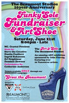 The Beaumont 10 year Funky Sole Fundraiser  Art Shoe at The Beaumont Studios fundraiser June 21, 2014 - Shoes sponsored by John Fluevog Shoes: http://g3t.ca/bajUjN