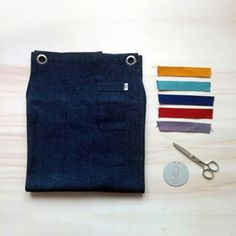 Denim apron + color stripes. #apron #delantal #denim #delantaloriginal  #delantalprofesional #mandil