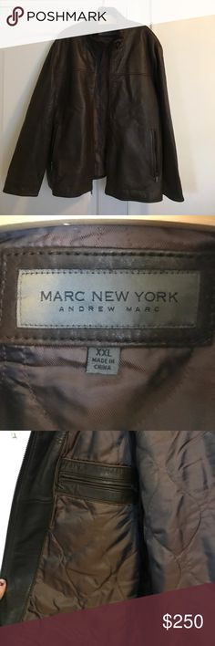 GEUININE BROWN LEATHER MEN'S ANDREW MARC JACKET GEUININE BROWN LEATHER MEN'S MARC NEW YORK by ANDREW MARC. Men's XXL. Worn once or twice. Purchased originally from Barney's. Leather exterior + nylon interior. No photos of it on because it's way too big on me. Andrew Marc Jackets & Coats Bomber & Varsity