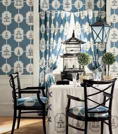 Pattern Repeat - Using pattern on pattern as a decorating tool - toile and damask fabrics as wallpaper, curtains and upholstery