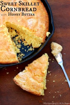 This recipe for moist and sweet skillet cornbread is always a winner.  A sprinkling of sugar on top makes a sparkly crust. Recipe for honey butter included.