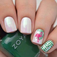 Born Pretty Shinning pearl powder nail design from customer Diy Nails, Cute Nails, Pretty Nails, Summer Acrylic Nails, Summer Nails, Hawaii Nails, Flamingo Nails, Diy Nail Designs, Stamping Nail Art