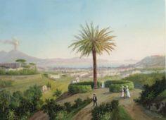 gioacchino la pira (italian, 1839-1870) - view of the bay of naples', gouache on paper