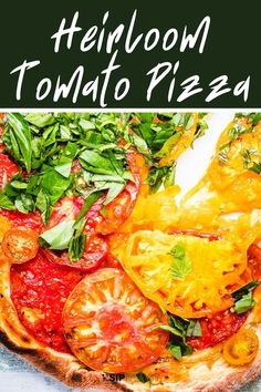This easy cheeseless pizza with delicious heirloom tomatoes makes the perfect dinner. The whole recipe can be made in under 30 minutes, only has a few ingredients, and makes a great vegan pizza idea! #vegandinner #veganpizza #nocheesepizza #tomatobasilpizza #dinner Pizza Recipes, Veggie Recipes, Appetizer Recipes, Whole Food Recipes, Dinner Recipes, Vegetarian Recipes, Healthy Recipes, Green Pizza, Italian Drinks