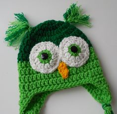 Owl Baby Hat - Greens - Animal Baby Hat - 0 to 3 Months - Owl Ear Flap Hat - Handmade Crochet - Ready to Ship (26.00 USD) by ShelleysCrochetOle