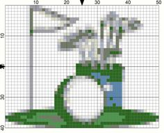 Free Needlepoint Charts for Week 15 Needlepoint Resolutions Challenge: Day 100-Golfer's Day Needlepoint Chart