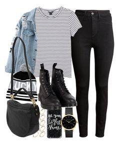 """Outfit with black jeans and a denim jacket"" by ferned on Polyvore featuring H&M, Monki, ASOS, Casetify, River Island, Mulberry and Dr. Martens"