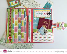 """Tutorial: Portadocumentos de viaje hecho con papeles de scrapbooking de la colección """"de viaje"""" de nuestra marca de materiales de scrapbooking #Anitaysumundo"""