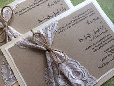 Lace and Twine Wedding Invitation Rustic by decadentdesigns at etsy Plus I like this wording-lbh