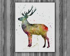 Watercolour paintings – Deer Animals Watercolour Printable Print – a unique product by Irene913 on DaWanda