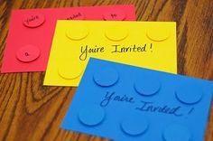 neat photo invitation cards looking like lego blocks