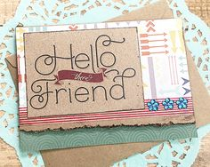 Hello There Friend Note Card Thinking of You by PaperDahlsLLC