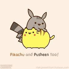 Pikachu and Pusheen so cute! Nyan Cat, Gif Pusheen, Pusheen Love, Pusheen Stuff, Kawaii 365, Chat Kawaii, Kawaii Drawings, Cute Drawings, Gato Anime