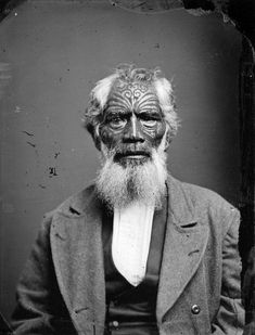 Maori man fron Hawkes Bay district, photographed in the 1870s by Samuel Carnell of Napier.