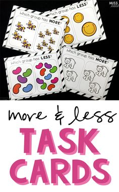 Great activity to reinforce number sense, counting and comparison for early childhood or special education. Includes 40 task cards and a recording sheet.