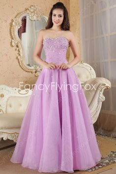 7348d889b06 Pretty Shallow Sweetheart Neckline A-line Floor Length Lilac Organza Quinceanera  Dresses With Beaded Bodice