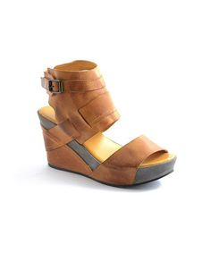 Love this Mustard Ankle Wrap Wedge Sandal by Antelope on #zulily! #zulilyfinds