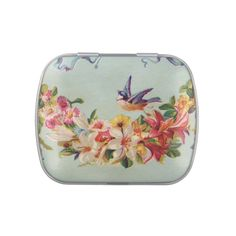 Vintage Flower Garland and Bird Jelly Belly Candy Tins