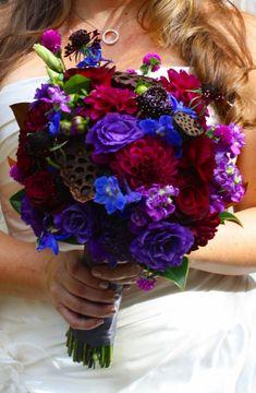 Indian Wedding Flowers Jewel Tones jewel tone brides bouquet burgundy purple and blue wedding flowers Indian Wedding Flowers, Wedding Flower Guide, Purple Wedding Bouquets, Burgundy Wedding, Bride Bouquets, Flower Bouquets, Blue Bouquet, Boquette Wedding, Wedding Bridesmaids