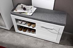 A modern shoe cabinet from the Flames hallway range. Comes in white matt/ white gloss finish. Closet Storage Drawers, Bench With Shoe Storage, Under Bed Storage, Storage Cabinets, Hall Furniture, Ottoman Furniture, Modular Furniture, Corner Shelves Bedroom, Leather Ottoman Coffee Table