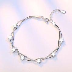 Silver Bracelets For Women, Sterling Silver Bracelets, Silver Jewelry, Silver Ring, Silver Earrings, Silver Charm Bracelet, Gold Jewellery, Stylish Jewelry, Simple Jewelry