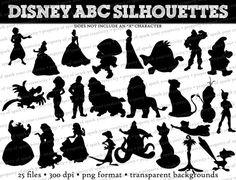 Articles similaires à Disney ABC Silhouettes / / Eric, Gaston, Cendrillon, Ariel, Iago, congelés / / Disney Clipart / / Princess Silhouettes / / personnages de Disney sur Etsy