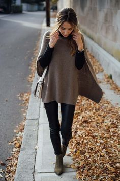 Jess Kirby styles a cashmere cape with leather leggings and ankle boots