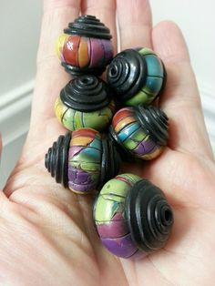 Multi Stacked Caps Polymer Clay Beads by Artybecca on Etsy