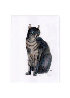 """colorpencil drawing cat art print """"A Black Cat"""" home decor wall art cat lover gift unique  (102)"""