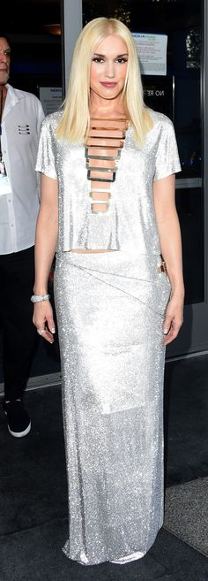 No jewelry's needed when your look's as shiny as Gwen Stefani's Emmys number. So fashion forward.