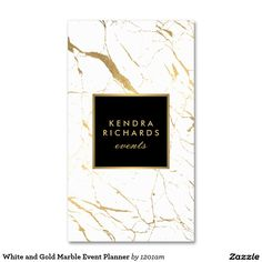White and Gold Marble Event Planner Double-Sided Standard Business Cards (Pack Of 100)