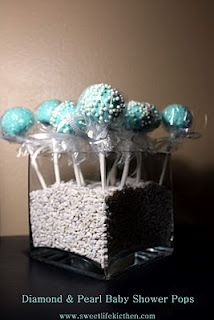 """I couldn't resist drenching these pops in edible """"diamonds & pearls"""". Baby Shower Buffet, Baby Shower Cake Pops, Baby Shower Gifts, Edible Diamonds, Cake Pop Holder, Blue Cake Pops, Pearl Baby Shower, Cake Pop Stands, Xmas Cookies"""