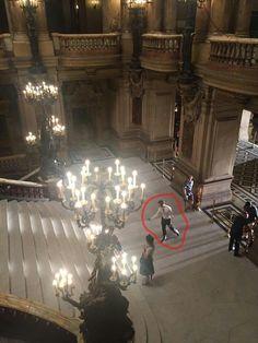 Jamie Dornan and Dakota Johnson on set fifty shades freed july19  at  Paris Opera House