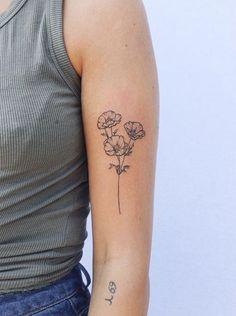 Dainty Tattoos, Pretty Tattoos, Small Tattoos, Cool Tattoos, Tatoos, Carnation Flower Tattoo, Poppies Tattoo, Butterfly On Flower Tattoo, Aster Tattoo