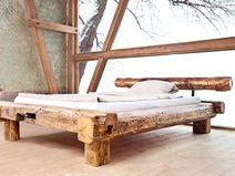 Balkenbett sumpfeiche  Kopfteil vom Bett Penco aus Kunstleder und Strukturstoff ...