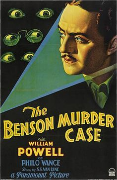 The Benson Murder Case 1930 William Powell Detective Philo Vance investigates murder in which the body was found in a room, the door locked from the inside, and he was without his toupee. Author Dashiel Hammett, in his review of the book, said determining the height of the murderer was impossible.