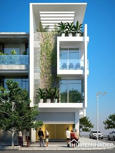 A green particular in middle facade create a green tone design which is a modern nature's design. Architecture Design, Futuristic Architecture, Contemporary Architecture, House Front Design, Modern House Design, Design Exterior, Narrow House, Facade House, Modern Buildings