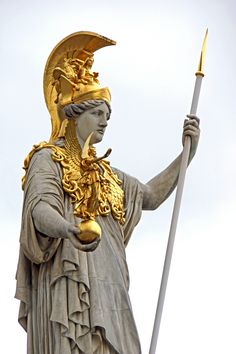 Pallas Athena by Dennis Jarvis, sculpture in parliament building, Vienna, Austria Athena Goddess Of Wisdom, Archaeology News, Gods And Goddesses, Greek Mythology, Ancient Greece, Ancient Art, Deities, The Past, Vienna Austria