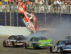 Tony Stewart's crash on February 18, 2001 at Daytona 500. At that time he was with Joe Gibbs Racing & Home Depot. The same day of Dale Earnhardt's fatal crash on the last lap.