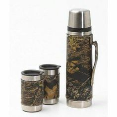 Weber's Mossy Oak Camo Leather Vacuum Bottle & Mug Set Gifts For Hubby, Mossy Oak Camo, Happy Kitchen, Custom Patches, Rustic Charm, Mugs Set, Camouflage, Coffee Cups, Bottle