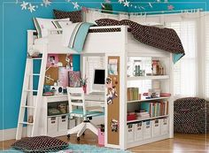 study loft beds for teenage girls | Halley would feel like a big girl with her loft bed.