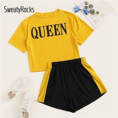 To find out about the Plus Letter Print Tee With Shorts at SHEIN, part of our latest Plus Size Co-Ords ready to shop online today! Cute Lazy Outfits, Cute Swag Outfits, Kids Outfits Girls, Crop Top Outfits, Pretty Outfits, Stylish Outfits, Girls Fashion Clothes, Teen Fashion Outfits, Cute Pajama Sets